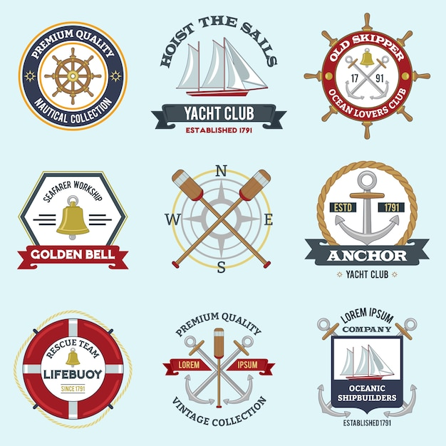 Nautical labels set Free Vector