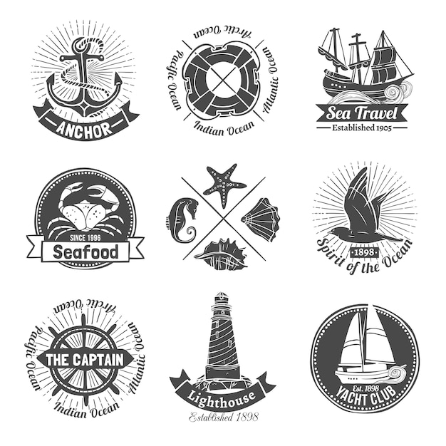 Nautical labels set Free Vector
