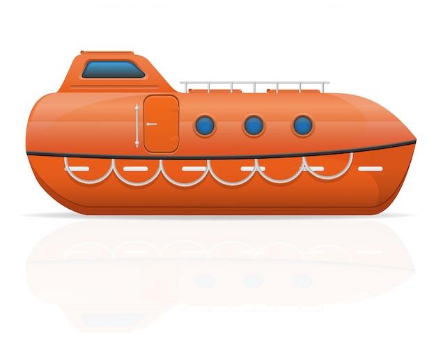 Nautical lifeboat. Premium Vector