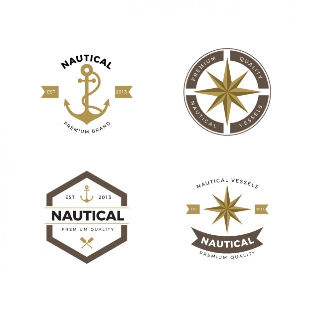 Nautical logos collection Free Vector