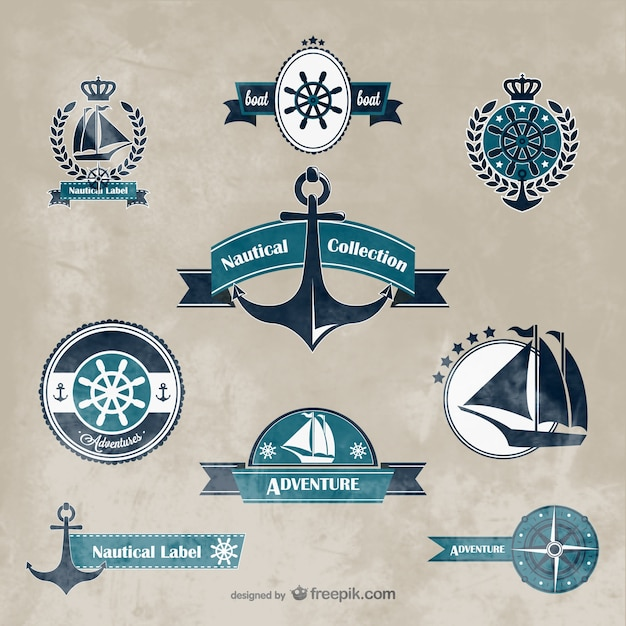 Nautical logos collection Vector | Free Download