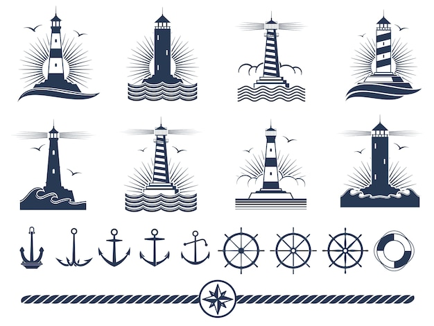 Nautical logos and elements set - anchors lighthouses rope Premium Vector