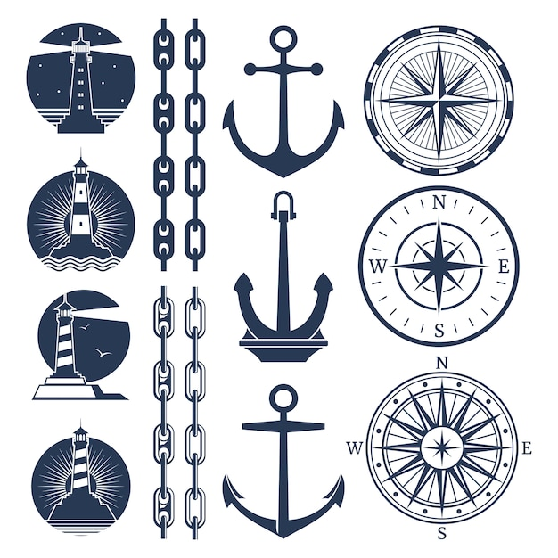 Nautical logos and elements set - compass lighthouses anchor chains Premium Vector