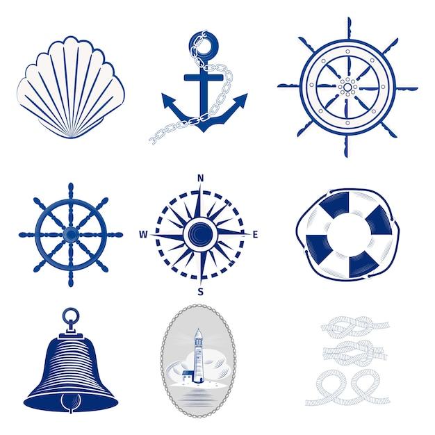 Nautical logos templates Premium Vector