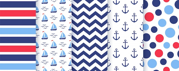 Nautical, marine seamless pattern.   illustration. sea backgrounds. Premium Vector