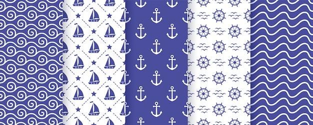 Nautical, marine seamless pattern. Premium Vector