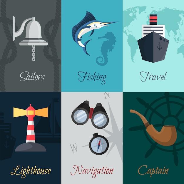 Nautical mini posters set Premium Vector