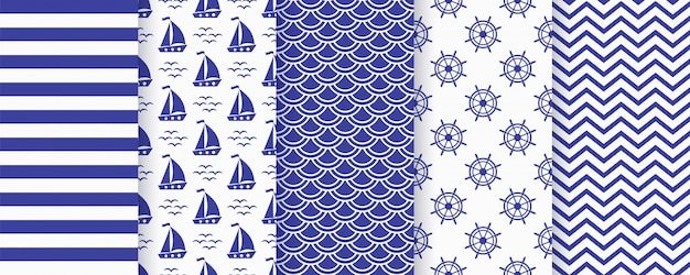 Nautical monochrome  seamless pattern.  illustration. marine backgrounds. Premium Vector