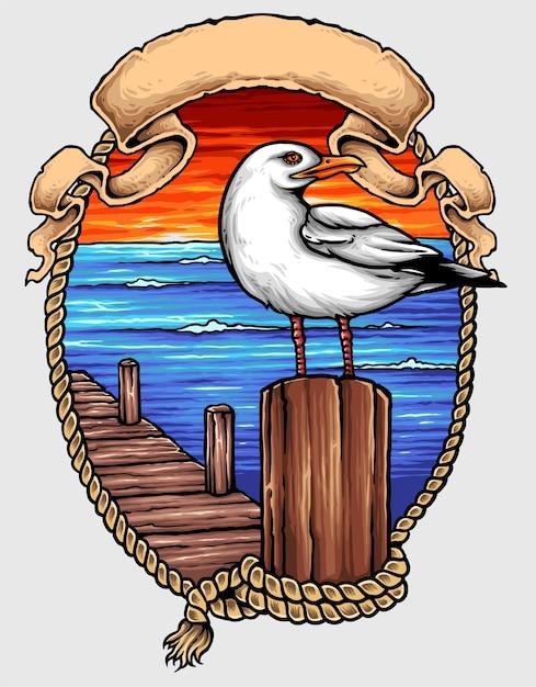 Nautical ocean bird tattoo Premium Vector