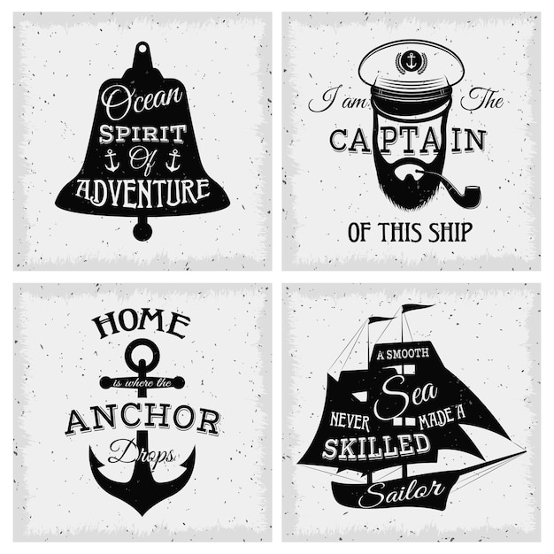 Nautical quotes compositions with inscriptions on bell sailboat anchor captain face Premium Vector