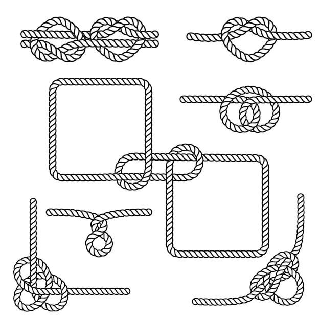 Nautical rope knots Premium Vector