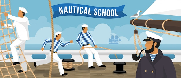 Nautical school sailboat flat banner Free Vector