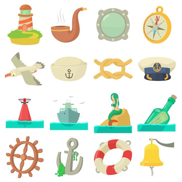 Nautical sea icons set Premium Vector