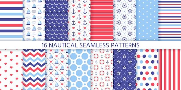 航海のシームレスなパターン。海洋の幾何学的なテクスチャ Premiumベクター