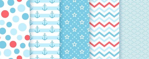 Морской бесшовные модели. морские узоры с якорем, полосами, звездой, волнами. Premium векторы