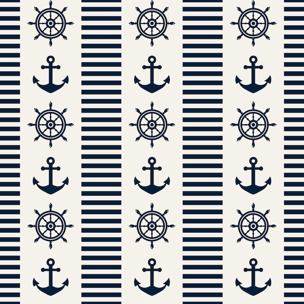 Nautical seamless pattern. vector illustration. Premium Vector