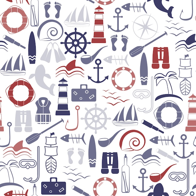 Nautical seamless pattern. Premium Vector
