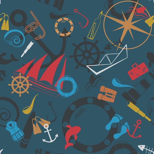 Nautical seamless pattern Premium Vector