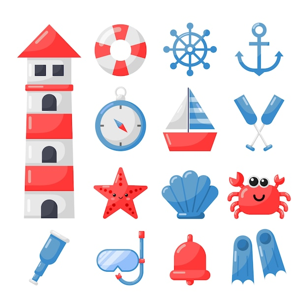 Nautical set icons cartoon style isolate on white Premium Vector
