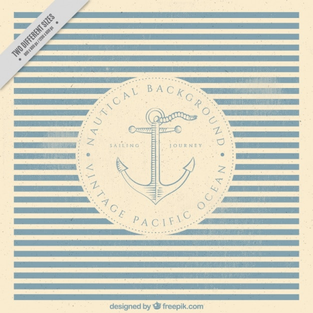 Nautical striped background with anchor in vintage style Free Vector
