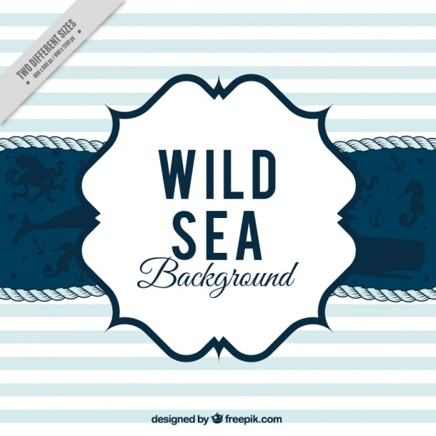 Nautical striped background with several marine animals Free Vector