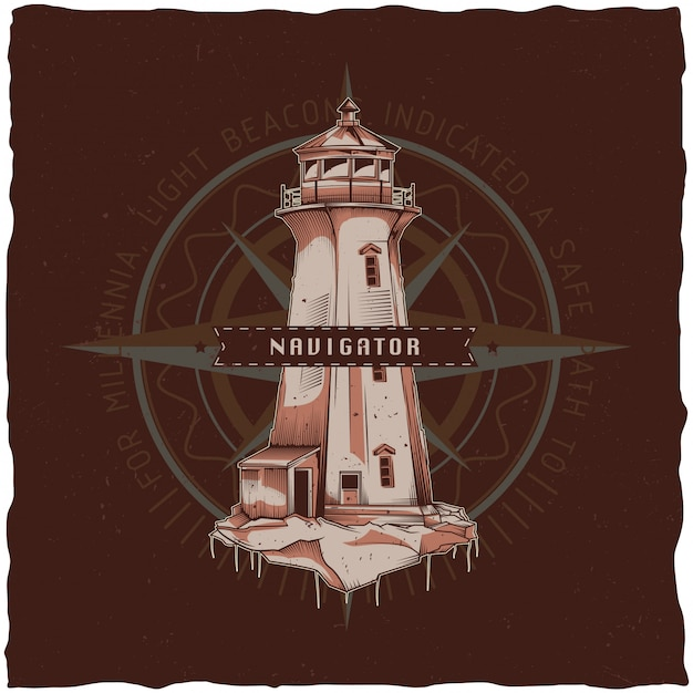 Nautical t-shirt label design with illustration of old lighthouse. hand drawn illustration. Free Vector