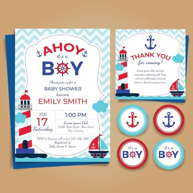Nautical theme baby shower invitation Premium Vector