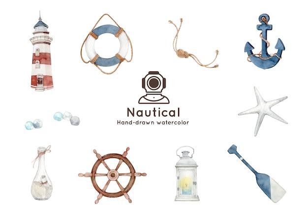Nautical theme watercolor illustration Premium Vector