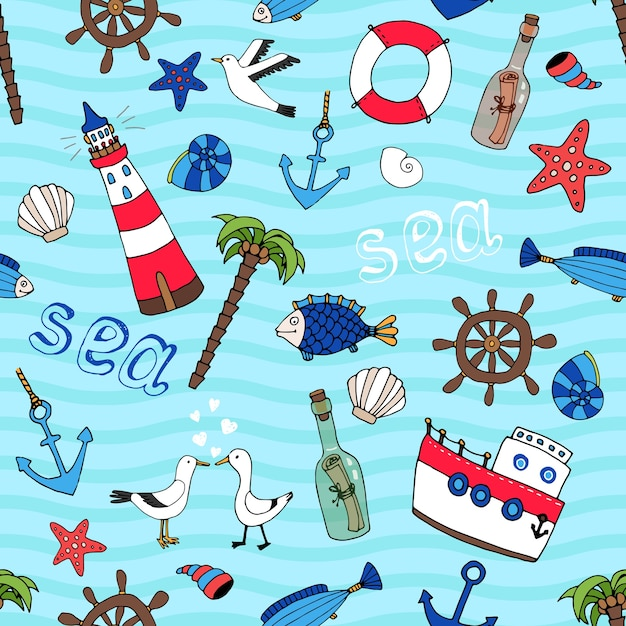 Nautical themed vector seamless pattern in retro style with a lighthouse  anchor  fish  ships wheel  palm tree  starfish  boat  seagulls  life ring  message in a bottle and shells on a turquoise sea Free Vector