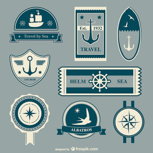 Nautical travel badges Free Vector