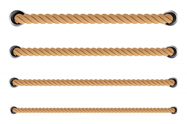 Nautical twisted rope knots, loops. Premium Vector