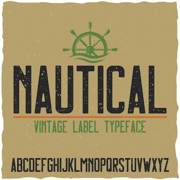 Carattere tipografico nautico e campione Vettore gratuito