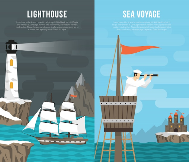 Nautical vertical banner set Free Vector