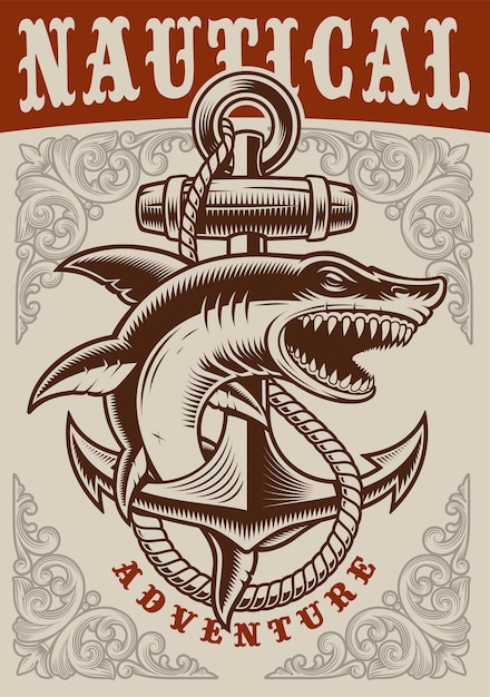 Nautical vintage poster with anchor and shark on white background Premium Vector