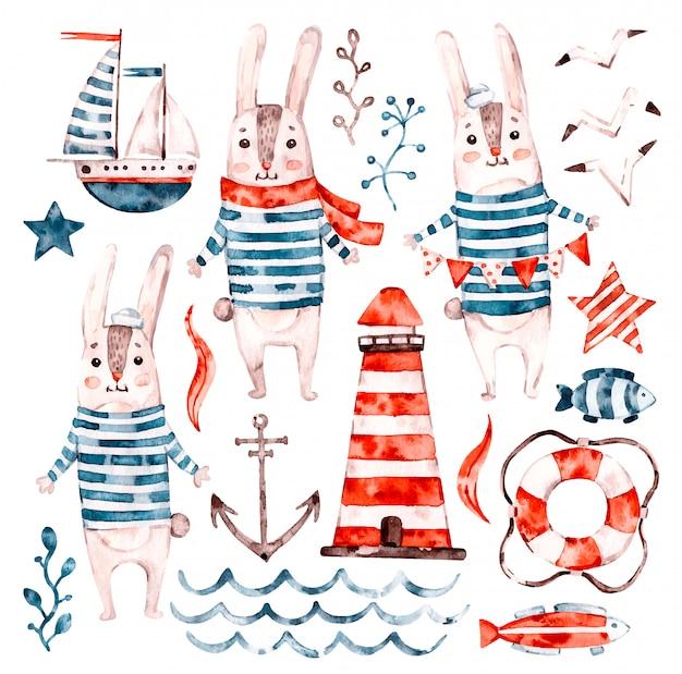 航海水彩画赤ちゃんウサギセーラー、動物漫画保育園船員セット。かわいい幼稚なキャラクターコレクション Premiumベクター