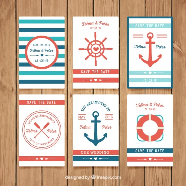Nautical wedding invitation collection Vector – Nautical Wedding Invite