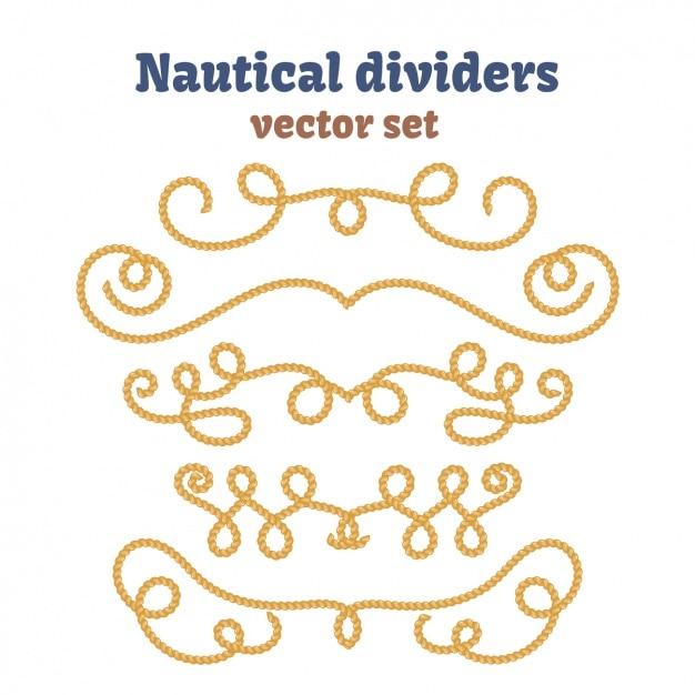 Коллекция nautical разделители Бесплатные векторы