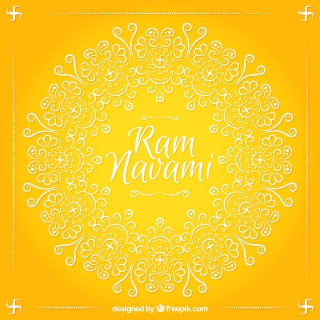 装飾用の形状のラムnavami黄色の背景 無料ベクター