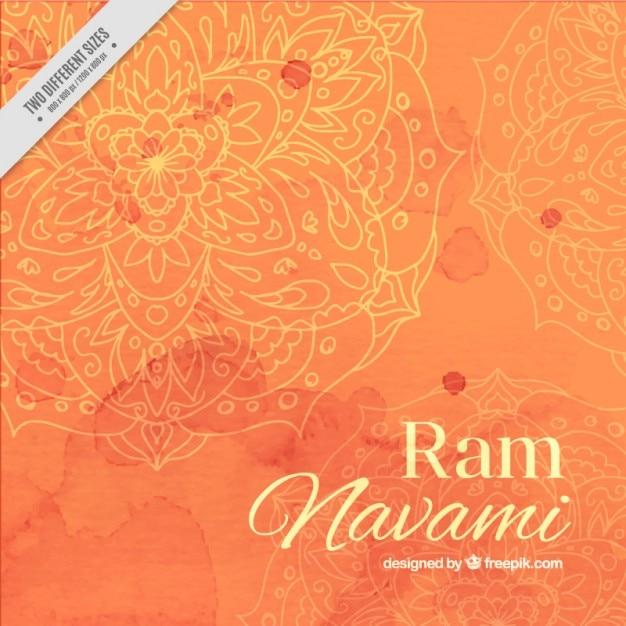 オレンジ色のトーンで水彩ラムnavamiの背景 Premiumベクター