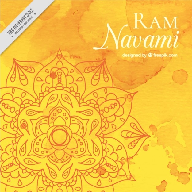 黄色の色調の水彩ラムnavamiの背景、 無料ベクター