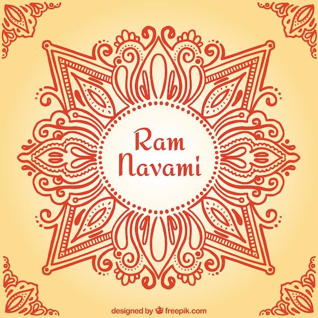 手描き観賞用ラムnavamiの背景 無料ベクター