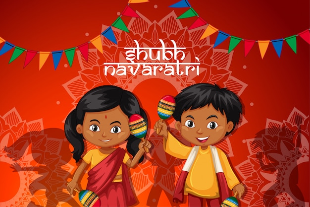 Navaratri poster with happy children Free Vector