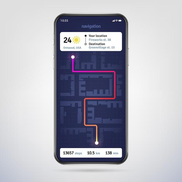 Navigate on city map. online navigator app. gps navigation application on phone screen. Premium Vector