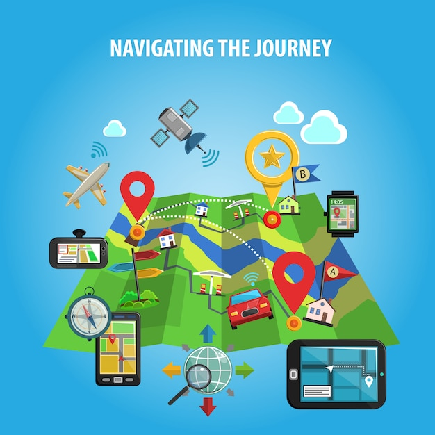Navigating the journey concept Free Vector