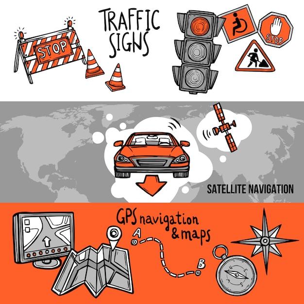 Navigation banner set Free Vector