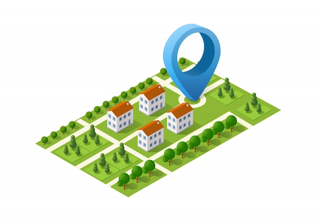 Navigation city map signpost pin in isometric Premium Vector