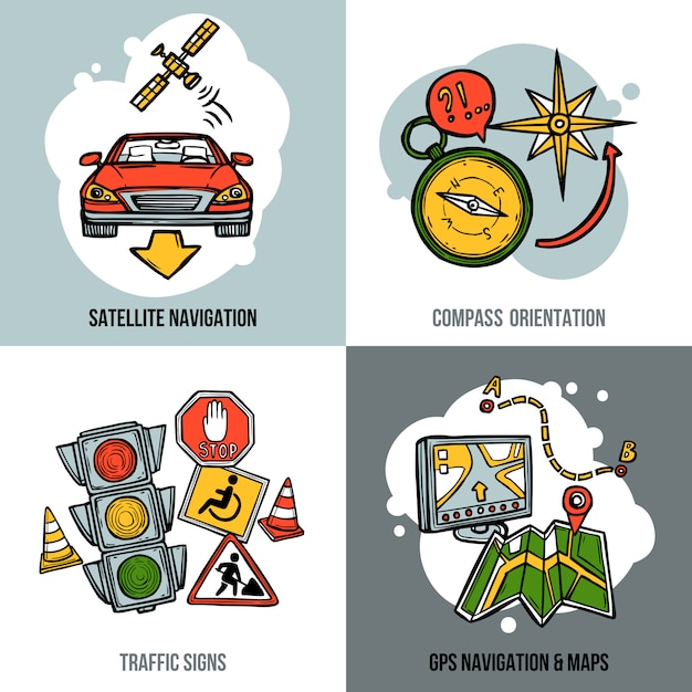 Navigation concept set Free Vector