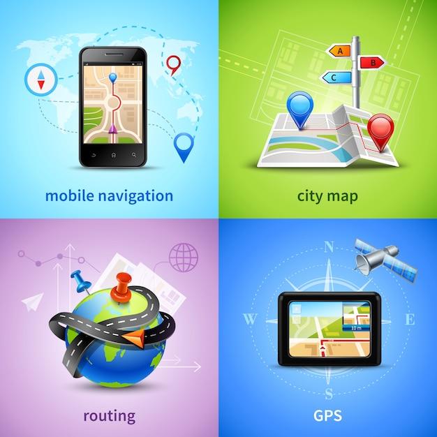 Набор навигационных концепций Бесплатные векторы