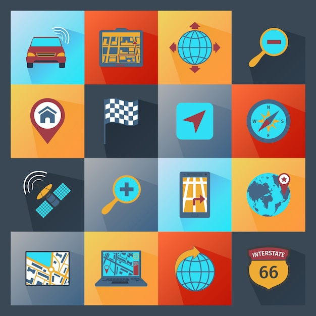 Navigation icons flat Free Vector
