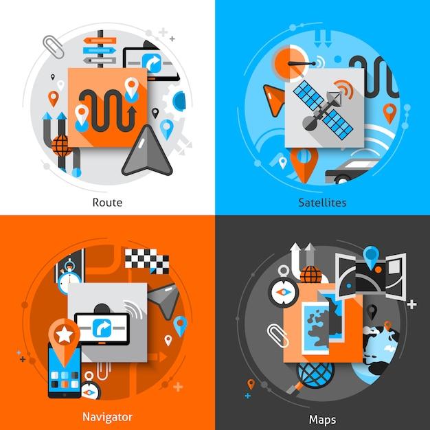 Navigation icons set Free Vector